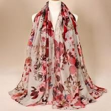 Осень Зима Мода ретро Цветочная вискозная шаль шарф дамы печати накидка из вуали пашминовый палантин мусульманские шапочки под хиджаб 180*85 см