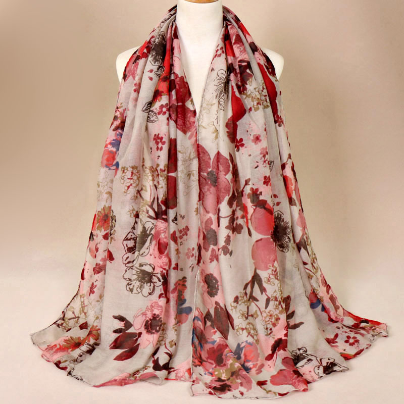 2019 Autumn Winter Fashion Retro Floral Viscose Shawl   Scarf   Ladies Print Voile   Wrap   Pashmina Stole Muslim Hijab Caps 180*85Cm