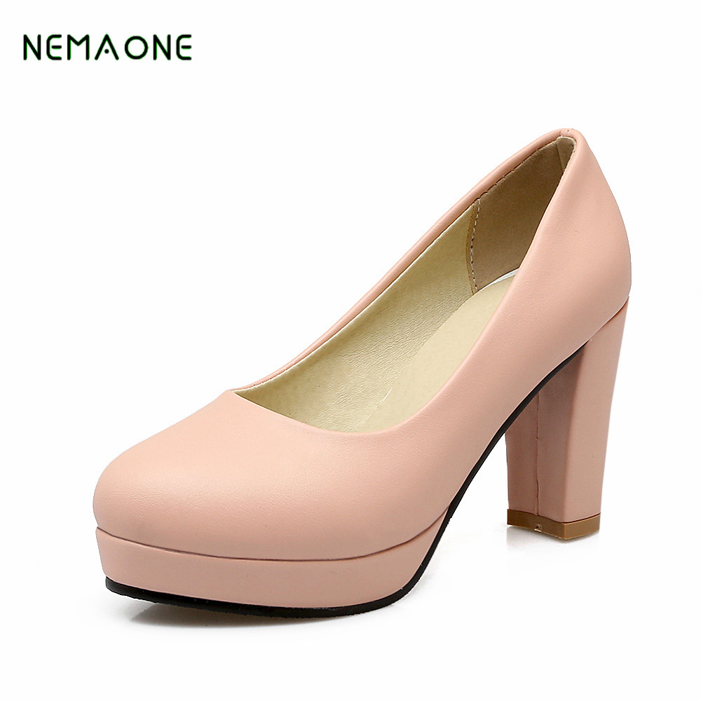 NEMAONE Black Women Shoes Pumps Ladies Medium Heel Nude Sexy High Heels Wedding Shoes Women Office White Pumps for Girls