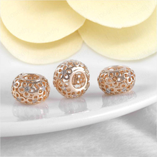 2PCS 11.5MM hole 5MM 24K Champagne Gold Color Plated Brass with Zircon Flower Large Beads High Quality Findings Accessories