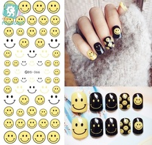 Rocooart DS366 Water Transfer Nails Art Sticker 2017 Year Emotion Emoji Yellow Smile Nail Wrap Sticker Tips Manicura stickers
