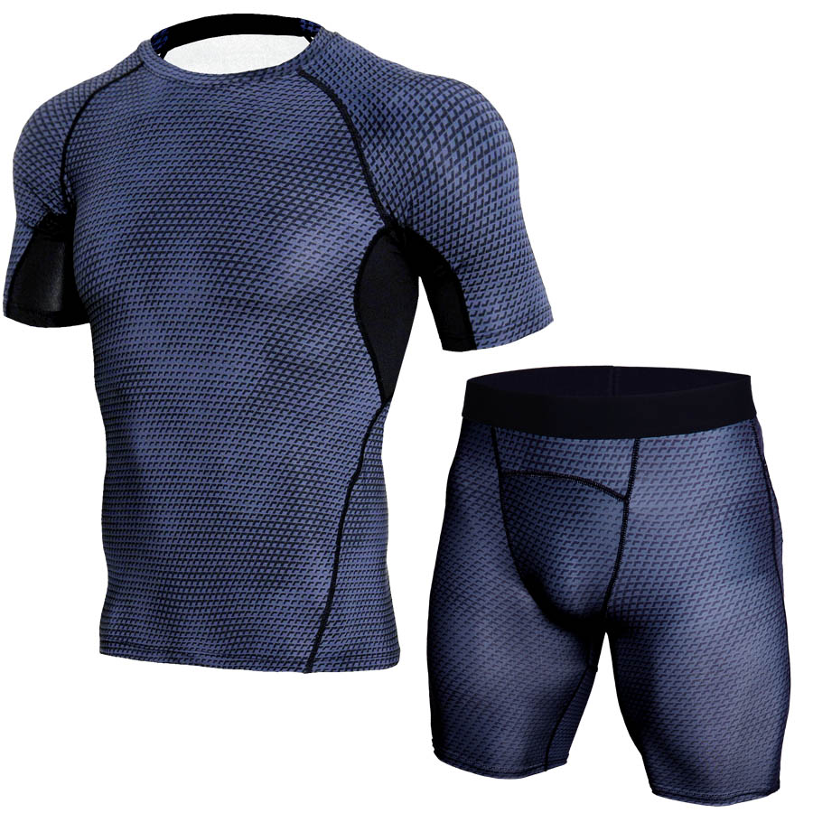Image 2 - 2018 New Logo Custom Quick Dry Fitness Tight Running Set Gym Bodybuilding Sportswear Tank Shirt Shorts Men Tracksuit Sport Suit-in Running Sets from Sports & Entertainment on AliExpress