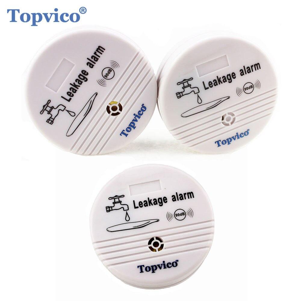 Topvico 3 unids Sensor de fuga de agua Detector de alarma de voz 90dB Detector de fugas de agua inalámbrico sistema de alarma de seguridad para casa