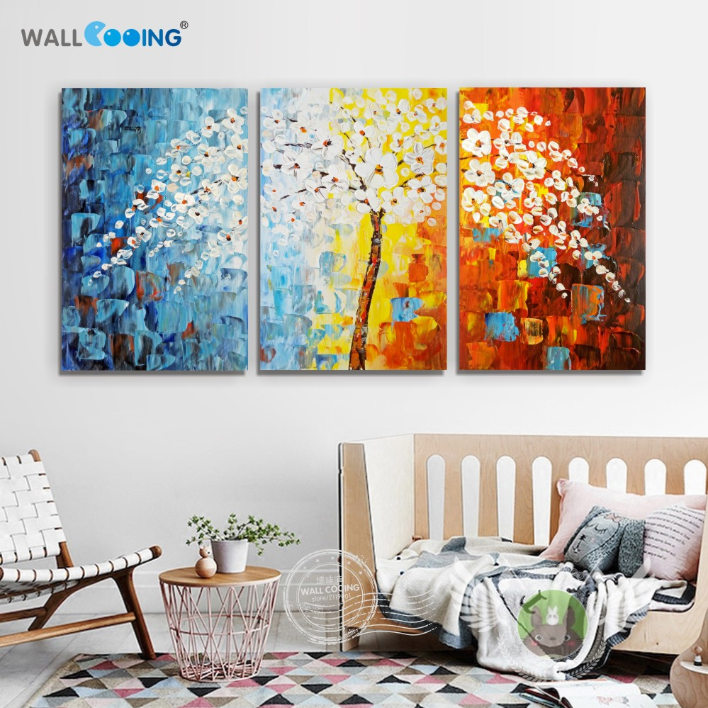 Superieur 3 Panel 100% Hand Painted Canvas Painting Fortune Tree Oil Paintings Wall  Art Modular Picture Modern Kitchen Wall Decor