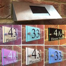 Customize MODERN HOUSE SIGN PLAQUE DOOR NUMBER STREET GLASS COLOUR EFFECT SOLAR LIGHT