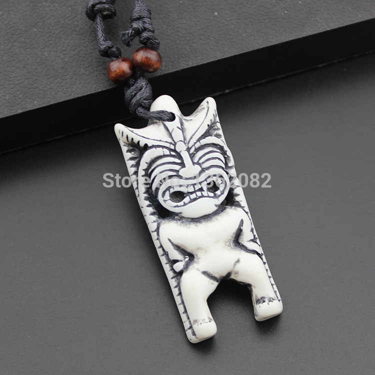 White Imitation Bone Carved Hawaii Totem Tiki Pendants Amulet Necklace Gift Mn375 Gifts Bridesmaid Gift Housegift Box With Window Aliexpress