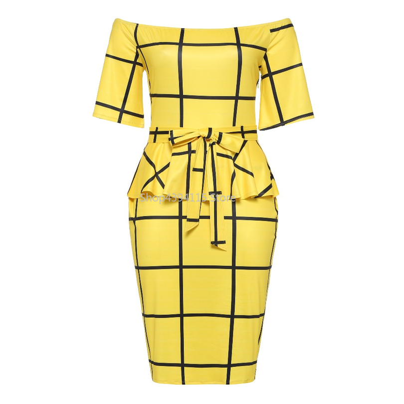Office longues Robe Bandage Robes Sexy Slash Femmes Ruches Bowknot Plaid Chic Taille Mi Yellow 2018 Nouveau Grande Travail Gaine Moulante Cou Lady wgqPAfR