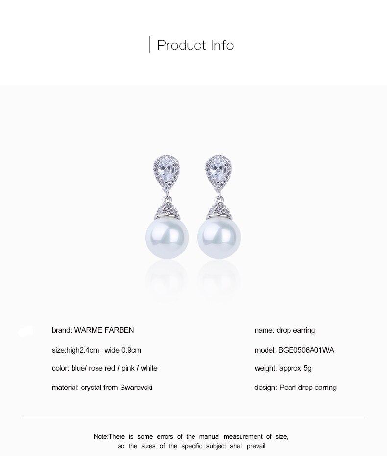 HTB1kJk4B5OYBuNjSsD4q6zSkFXak Warme Farben 925 Sliver Women Earrings Made With Swarovski Crystal Elegant Pearl Drop Earrings Fashion Jewelry Wedding Earrings