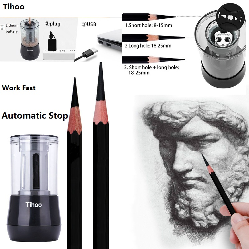 все цены на Tihoo Multifunction Electric Pencil Sharpener Dual Purpose Automatic stop Pencil Electronic Sharpener for Art Learning Sketch