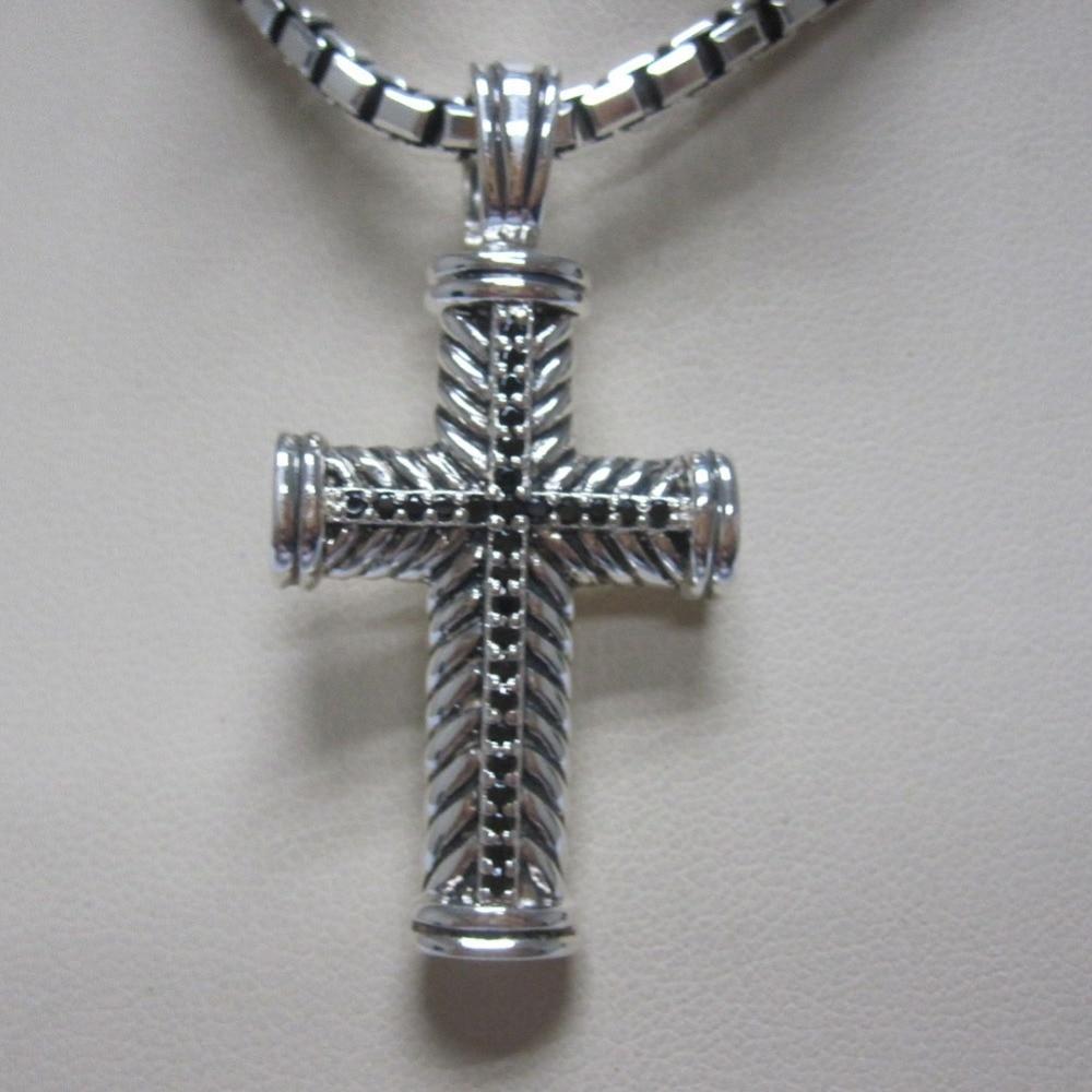 Solid 925 Silver Men S Jewelry Black Diamond Chevron Cross Necklace Design Jewelry Men Pendant Necklace Fine Necklace Necklaces Aliexpress