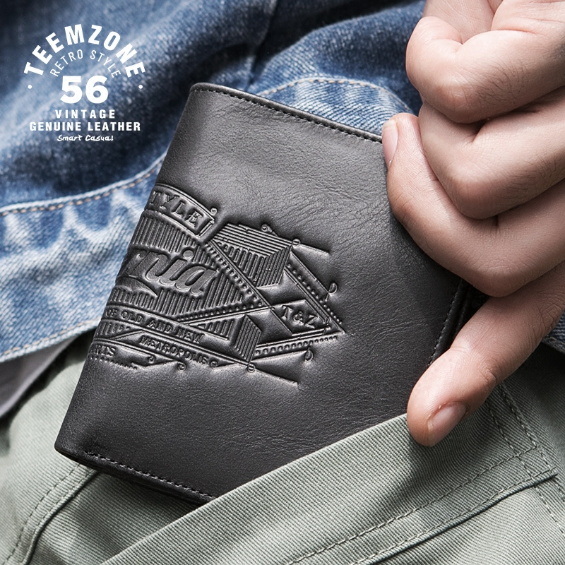 Brand High Quality Vintage Men Genuine Leather Mini Wallet For Credit Cards Short Thin Cow Leather Purse Gray Fashion Walle j50