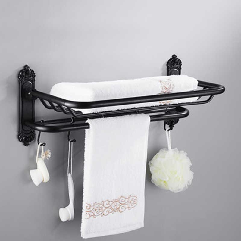 Оптовая продажа, двойная вешалка для полотенец для ванной комнаты, настенная вешалка для полотенец и черная полка Wth