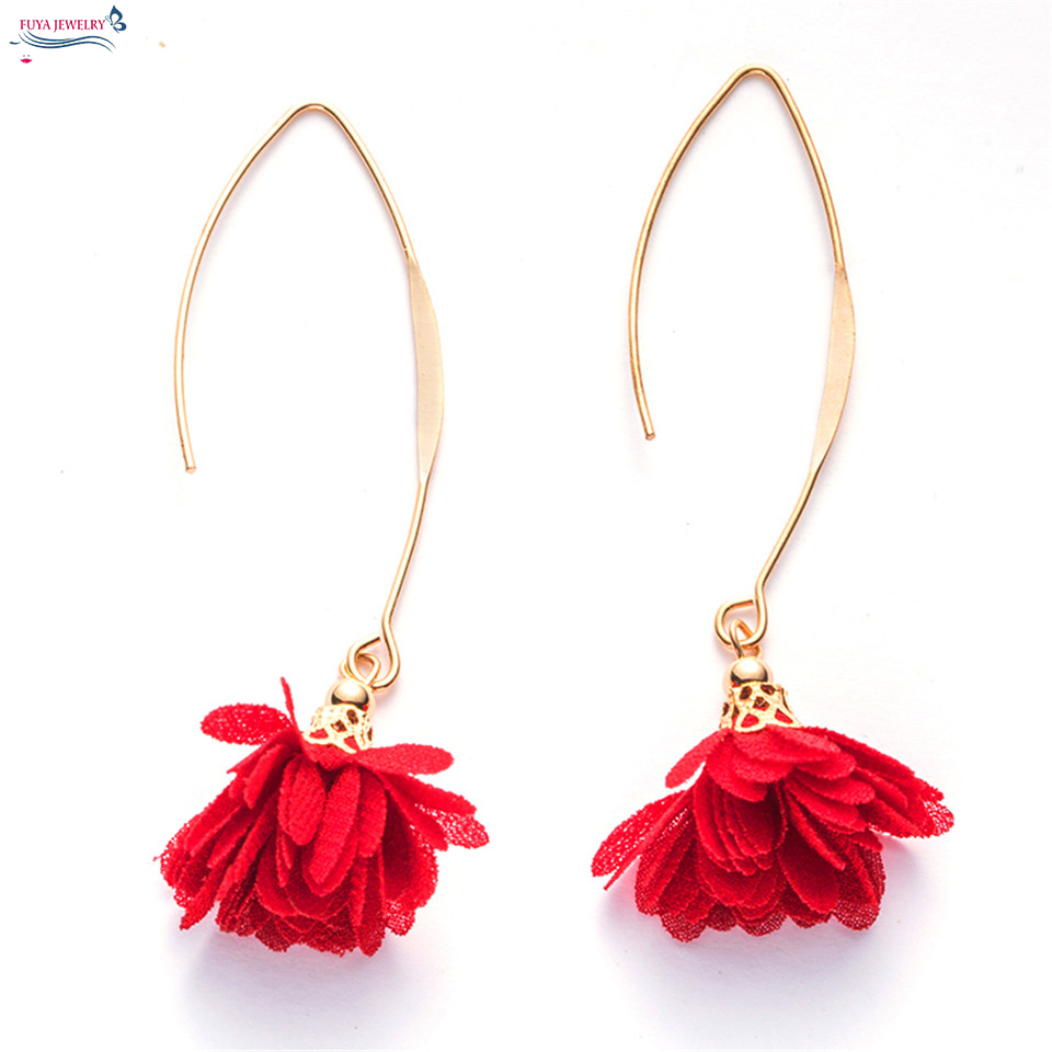 Flower lovely tassel long earrings women Bohemian night dangle eardrop restoring ancient ways earring wedding statement jewelry