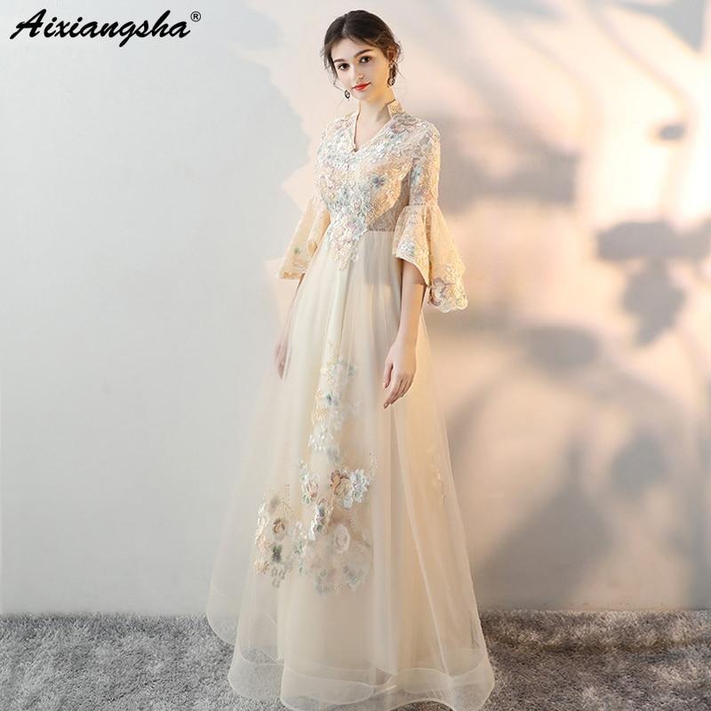 Customized Plus Size Prom Dresses 2018 vestido longo V Neck Floor Length Tulle Appliques Long Dress Elegant vestido de festa