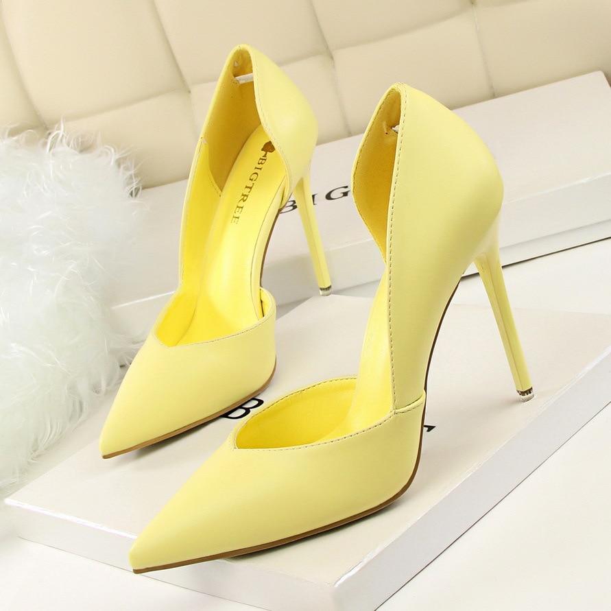 Women Pumps Fashion High Heels Shoes Black Pink Yellow Shoes Women bridal Wedding Shoes Ladies