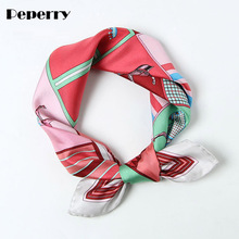 Horse Scarf Women Pure Twill Silk Bandanna Small Neck Head Headband Hairband Bag Hat Ring Collar Square 53*53cm