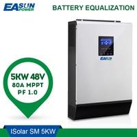 EASUN мощность 5000 Вт солнечный инвертор 80A MPPT от сети преобразователь 48 В 220 В Гибридный Инвертор Чистая синусоида инвертор 60A Батарея Зарядное