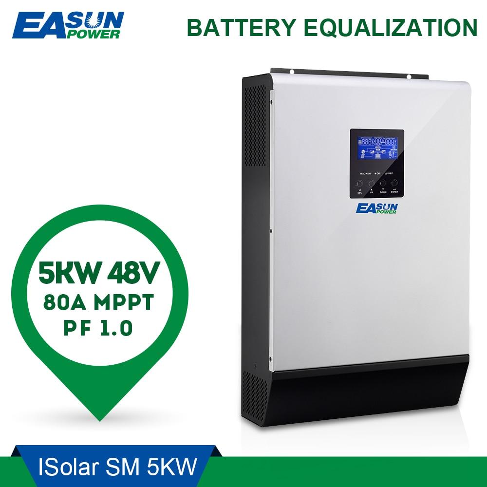 EASUN POWER 5000 W inversor Solar 80A MPPT inversor 48 V 220 V híbrido inversor de onda sinusoidal pura inversor 60A cargador de batería