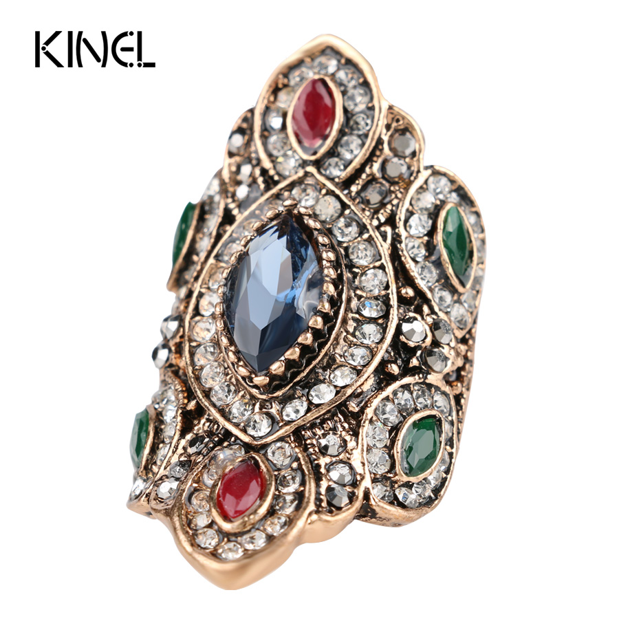 Punk Rock Vintage Wedding Rings For Women Color Antique Gold Unique Crystal Resin Ring Turkey Jewellery Christmas Gift In From Jewelry