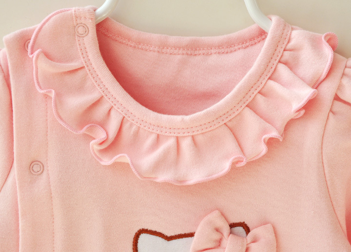 HTB1kJkoJFXXXXcoaXXXq6xXFXXXc - 2 Pcs Newborn Girl Organic Cotton Hello Kitty Romper Set Baby Cute Pink Jumpsuit with Hat New Born Ruffled Collar Bowknot Outfit