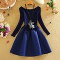 Alpha New Arrival 2015 Winter Dress Women Long-sleeved Knitting Princess Dress Vintage Elegant Slim Pleated Dress 4colors
