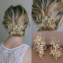 Silver Gold Pearls Crystal Hair Pins Clips 2 Pcs Handmade Leaf Rhinestone Women Hair Jewelry Bridal Wedding Hair Accessories(China)