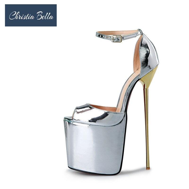 Пикантные туфли лодочки на очень высоком каблуке 22 см, на платформе, однотонные блестящие кожаные женские вечерние модельные туфли, туфли л