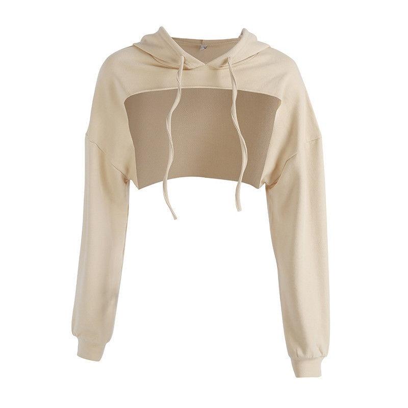 2018 spring autumn Women short hoodies Sexy Cut Front Hoodie Sweatshirt Tops Sweatshirt Pullover women clothing moletom feminino