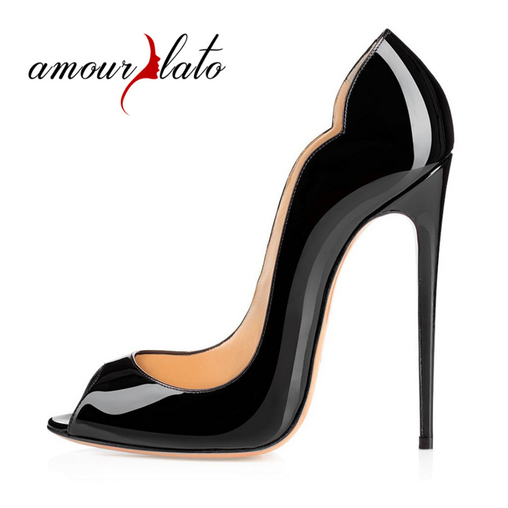 Amourplato Women Peep Toe High Heels Sexy Patent Pumps Slip On Cut Out Stilettos Party Evening Dress Shoes 12cm Thin Heels Pumps apoepo 2018 newest woman stilettos pumps sexy pointed toe slip on dress heels office lady thin heels shoes bling party shoes