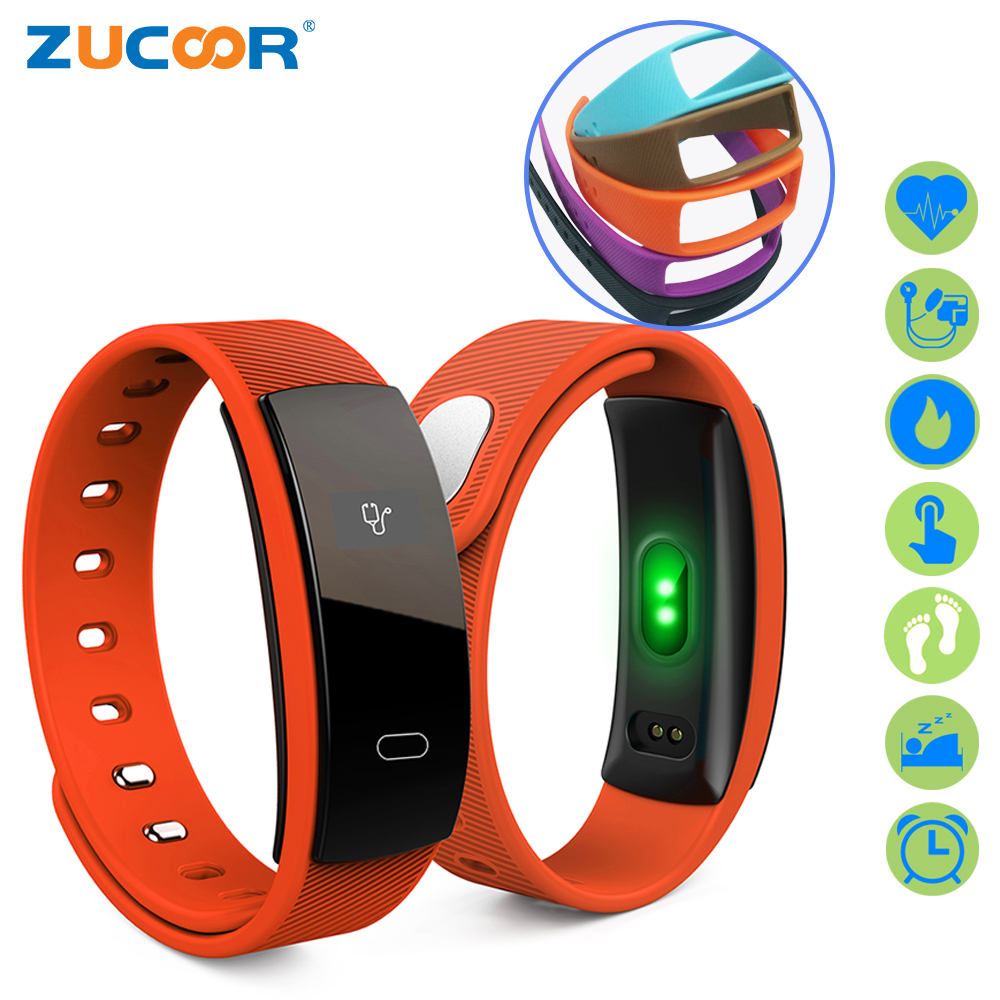 ZUCOOR Smart Wristband Bracelet Fitness Pulseira Inteligente Band QS80 Pedometer Health Blood Pressure Wearable Devices Pk Xiomi