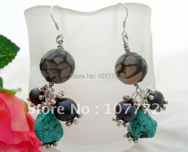 Звон и бирюзовый и агат Earrings-925 щепка крюк