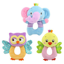 Newborn Baby Toys 0-12 Months Cartoon Animal Owl/Elephant Baby Boy Girl Rattles Hand Bell Infant Toddler Plush Toys jouet enfant(China)
