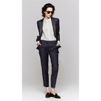 Jacket Pants Navy Women Business Suits Blazer Black Satin Lapel Female Trouser Suit Ladies Winter Formal Suits 2 Piece Blazers