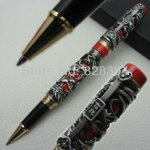 Jinhao Dragon & Phoenix Heavy Gray Red Chinese Classical Luck Clip Roller Pen luxury jinhao roller ball pen hollow steel golden dragon and phoenix married couple gift