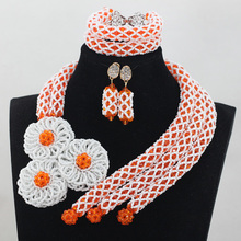 Orange Crystal Wedding African Beads Jewelry Sets Fashion Indian Handmade Jewelry Bridemaid Jewelry Sets Free Shipping ABH014