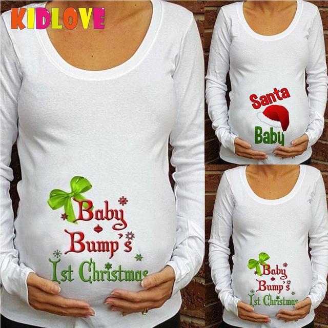 8662efc4 Kidlove Pregnant Cotton Blend T-shirt Top Tees Round Collar Tops Christmas  Letter Printed Long Sleeve T Shirt Big Size san0