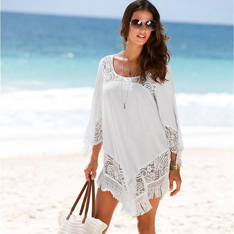 NODELAY 2018 New Women Bikini Cover Up Tassels Trim Beach Tunic Dress White Lace Splicing Swimwear Cover-Ups Anti-UV Kaftan Robe
