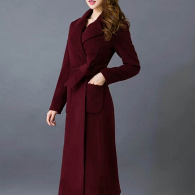 59e576e44ff7b Maxi Dress Women Long Coat Wool Coat High Quality Fashion Winter Outerwear  Plus Size Lady Long