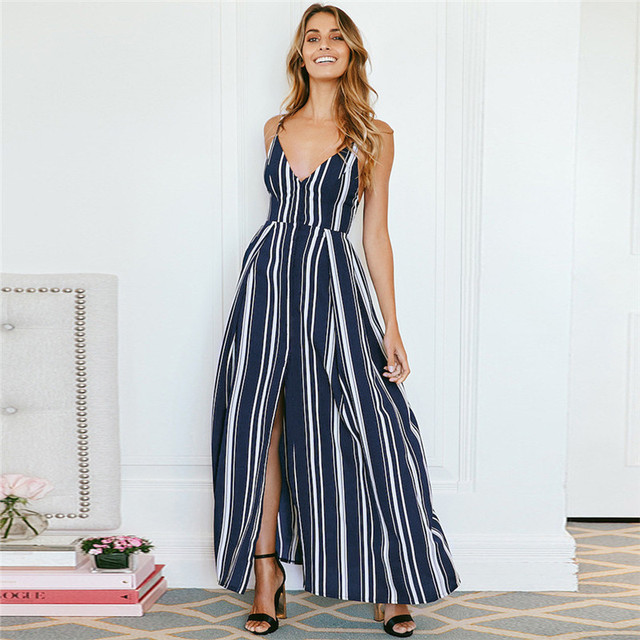 529bfeeb11bd7 US $11.89 30% OFF|2019 new European and American striped irregular split  Chiffon Dress sexy women party dress-in Dresses from Women's Clothing on ...