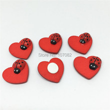 100pcs 18x19mm Red Wooden font b Ladybug b font Ladybirds And Heart Wooden Chips Sticky Flatbacks