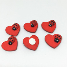 100pcs 18x19mm Red Wooden Ladybug Ladybirds And Heart Wooden Chips Sticky Flatbacks Easter Decorative Wooden Craft Scrapbooking