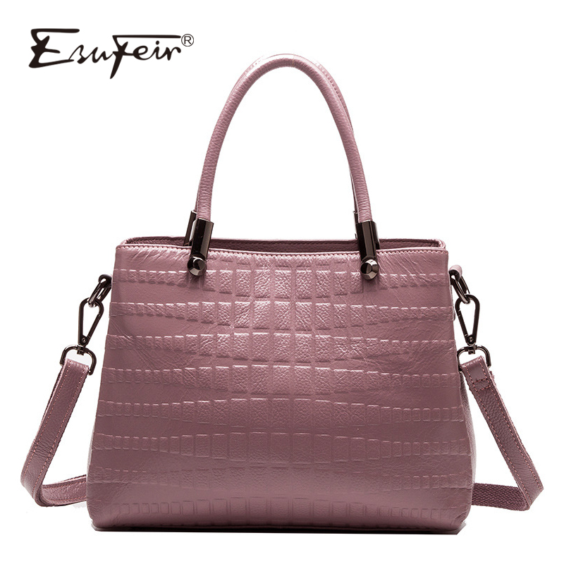 где купить ESUFEIR Genuine Leather Luxury Handbags Women Bags Designer Embossed Leather Shoulder Bag Fashion Casual Tote Bag bolsa feminina по лучшей цене