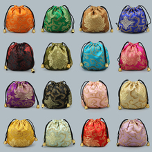 YYW 10Pcs/Lot Chinese Silk Satin Fabric Jewelry Gift Pouch Drawstring Necklace Bangle Bracelet Travel Storage Bag Packaging Bag
