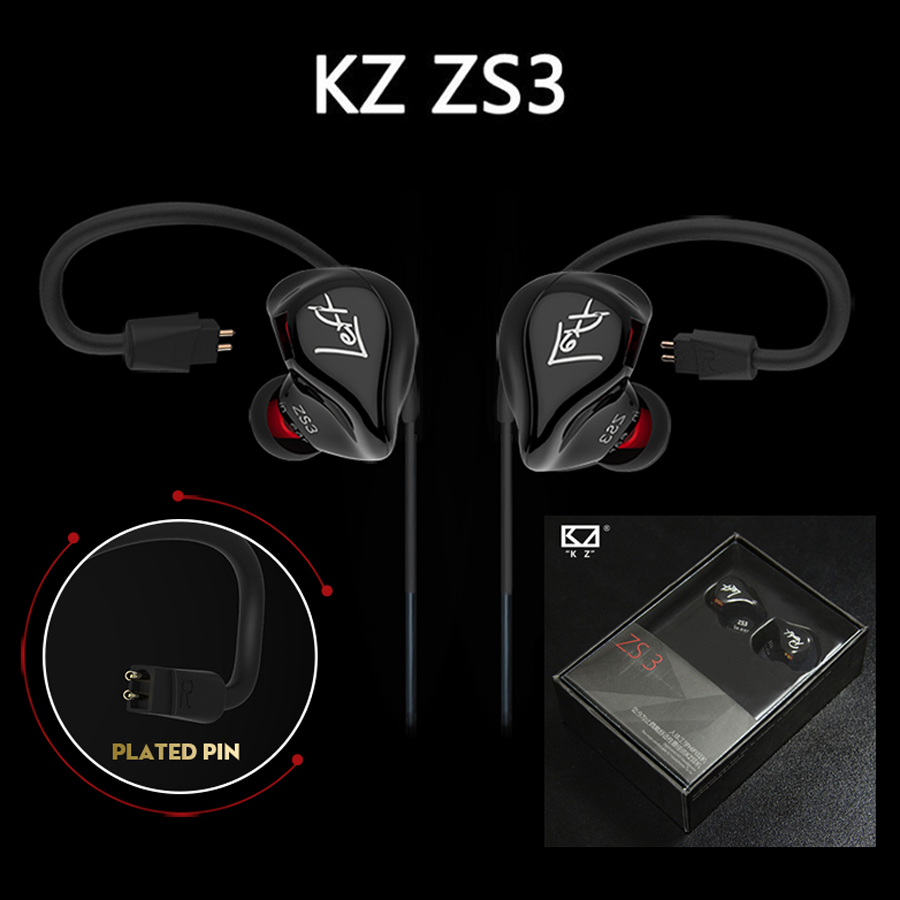 Original KZ ZS3 Super Bass Sports In Ear Earphone With Mic HIFI Running Earbuds Noise Cancellation Wired Earphones PK IE80 100% newest original kz zs3 3 5mm in ear earphones hifi auriculares earphones super bass running sport earbuds with microphone