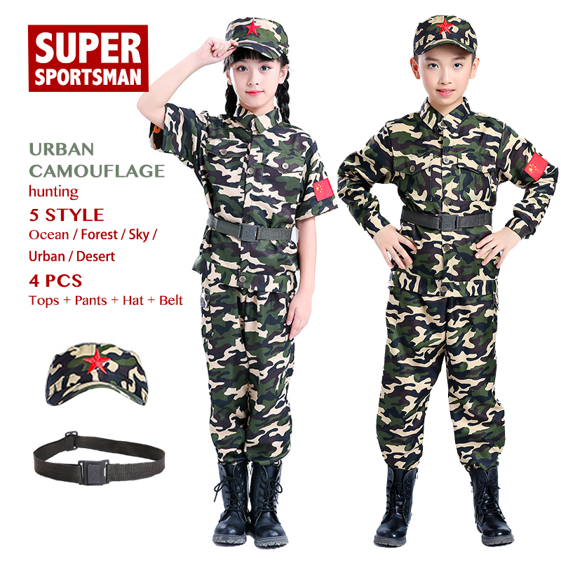 8c92389d9d20a Girls Boys Hunting Clothing Children Camouflage Jackets Men Airsoft Sniper  Sports Clothes Kids Army Uniform Jungle Ghillie Suits