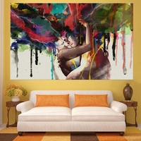 Unframed Modern Printed Graffiti Art Lovers Couple Oil Painting Picture Decor Canvas Wall Art For Living