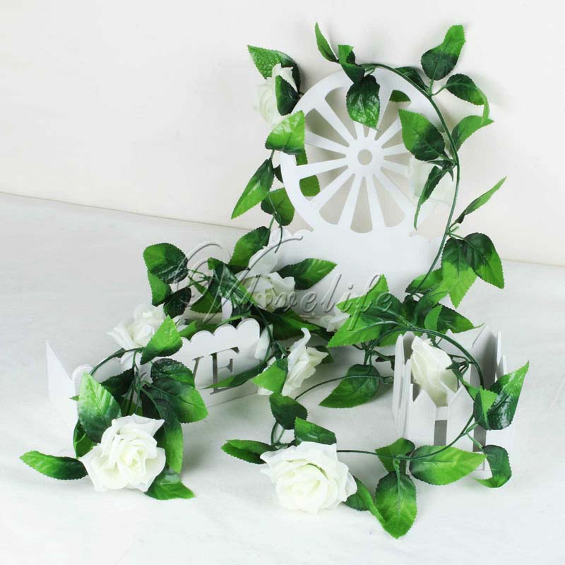 2.2m 10Pcs Artificial Flowers Silk Flower Rose Ivy Vine Hanging Planter For  Wedding Party Garland