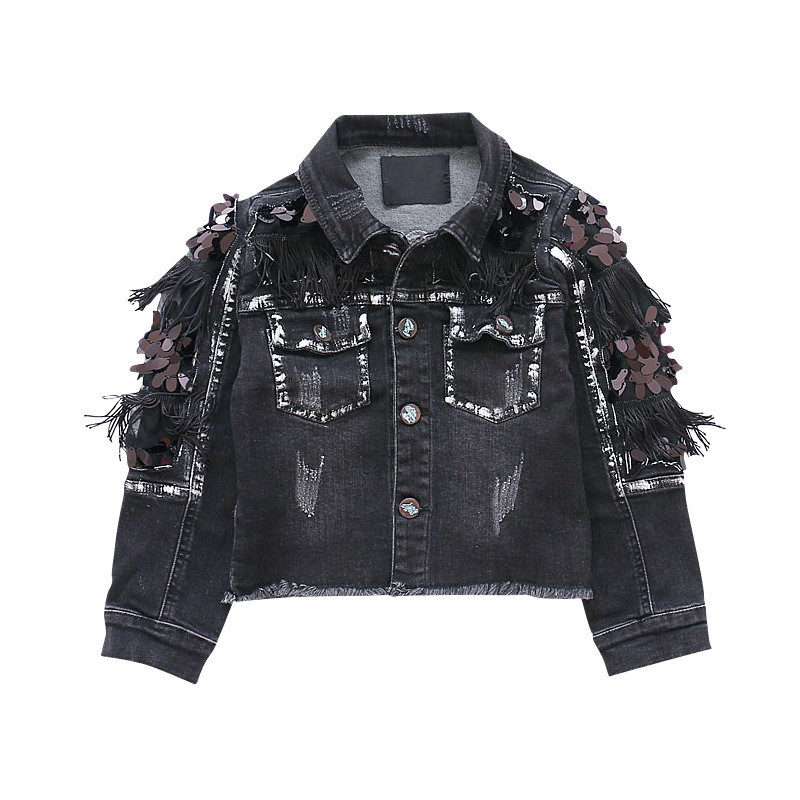 Girl Loose Tassels Coat 2018 New Spring Clothes Korean Girls Jackets  Baby Cardigan Black Cowboy Sequins JacketGirl Loose Tassels Coat 2018 New Spring Clothes Korean Girls Jackets  Baby Cardigan Black Cowboy Sequins Jacket