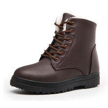 COZULMA Women Classic Winter Warm Plush Lining Work Boots Female Fashion Sneakers Shoes Lace-up Ankle Plus Size 35-44