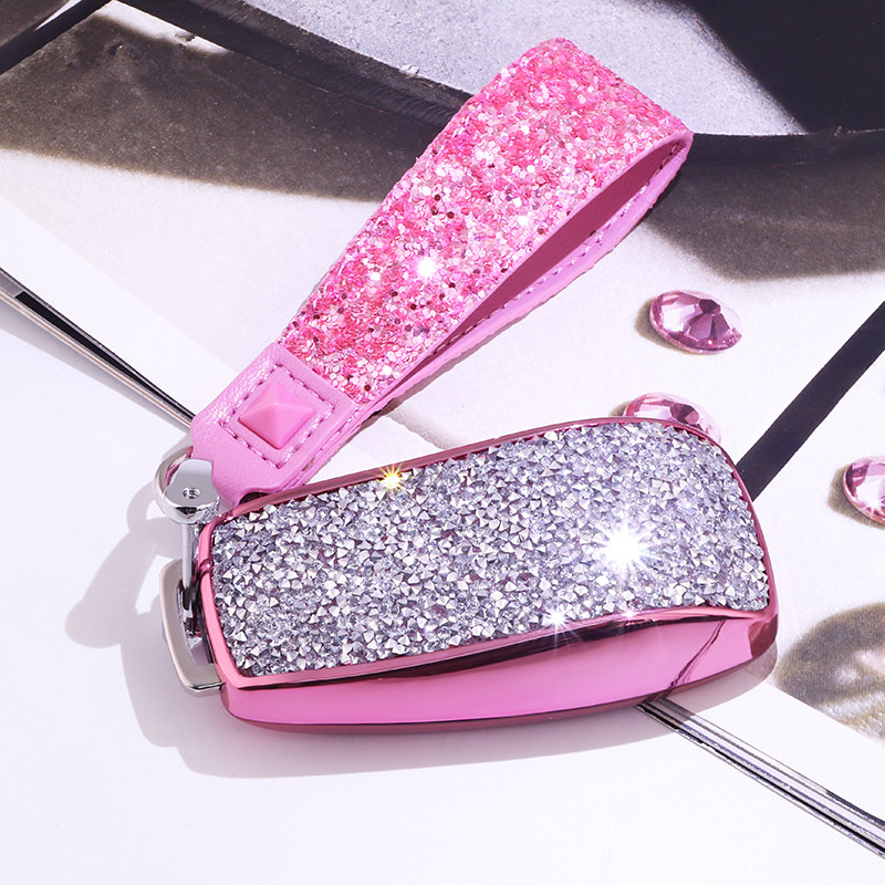 Female Luxury Diamond Crystal Shining Car Key Case Cover for Mercedes Benz E Class W213 E200 E200L E300 E300L 2016 2017 2018